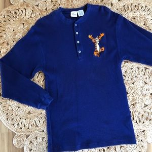Vintage 80's Tigger Embroidered Thermal Top WDW
